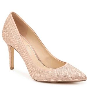 Jessica Simpson Levin 2 Pump Dusty Beige Rhineston